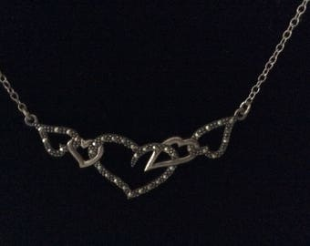 """Silver Heart Necklace - 925 A Thailand - Marcasite - 5 hearts - 15 1/2"""" long"""