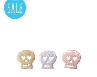 75% off Sale tiny day of dead SKULL stud earrings, Gold, Silver, Rose gold, cute skulls, Humane Society donation