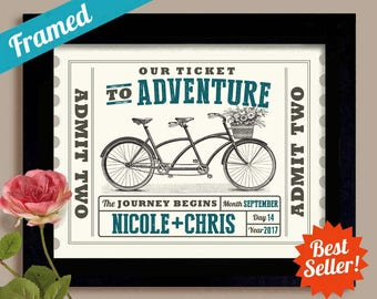 Adventure Awaits Wedding Ticket Personalized Wedding Gifts for Couple Unique Engagement Gift Anniversary Gift Tandem Bicycle Newlyweds Gift