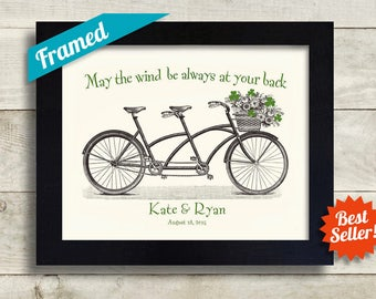 Irish Wedding Gift Personalized Wedding Unique Engagement Gift Ireland Shamrock Art Saint Patricks Day Bicycle for Two Irish Blessing Print