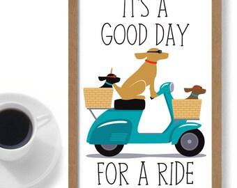 Dog Art Gift Personalized Custom Dog Lover Gift Idea Yellow Lab Black Labrador Chocolate Lab Family Dog Vespa Dogs Ride A Bike European Dog