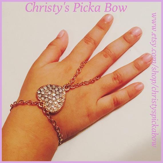 Little girl crystal heart bracelet heart braceletslave