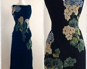 CLEARANCE 1990s Black Silk Dress with Floral Hydrangeas by Kamisato by Geary Roark - Size 8 Size Small