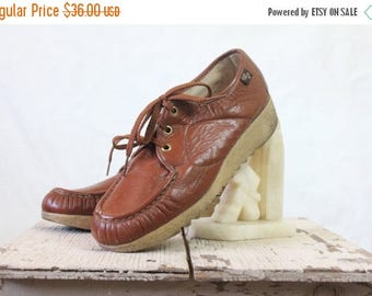SALE 70's Sienna Leather Lace Oxfords Sz 7.5/8