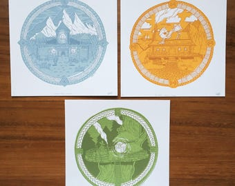 Merethion Collection Tryptich - Three Screenprints - 23cm x 23cm