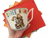 Vintage Coffee Mug Coffee Hound Gift for Dog Lover and Coffee Drinker Rainbow Colored Vintage Mug Made in Japan 1950s Vintage Kitsch Mug