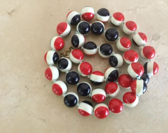 Vintage Red White and Blue Necklace / Patriotic Necklace