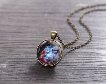 Universe Pendant Necklace - Merging Star Clusters in 30 Doradus  - Galaxy Pendant Series