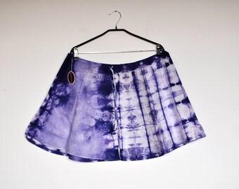 NOS Vintage Designer Bright Indigo Blue Tie Dye Batik Cotton Wrap Around Skirt
