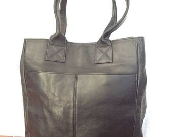 15%OFF VACATION SALE Vintage Genuine Black Leather Tote Shoulder Bag Made in Colombia