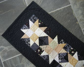 Gold and Black Stars Autumn Table Runner