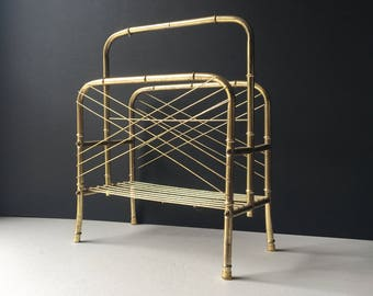 Retro Brass Magazine Rack, Faux Bamboo Brass Magazine Holder, Blanket Stand, Towel Holder, Bamboo Style Brass Magazine Stand with Handle