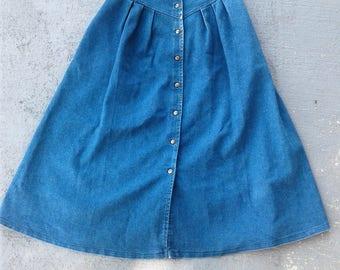 Vintage  High Waist BOHO WESTERN Denim Maxi Skirt