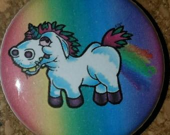 "Derpy Unicorn 1"" Pin, Rainbow, Pinback Button"