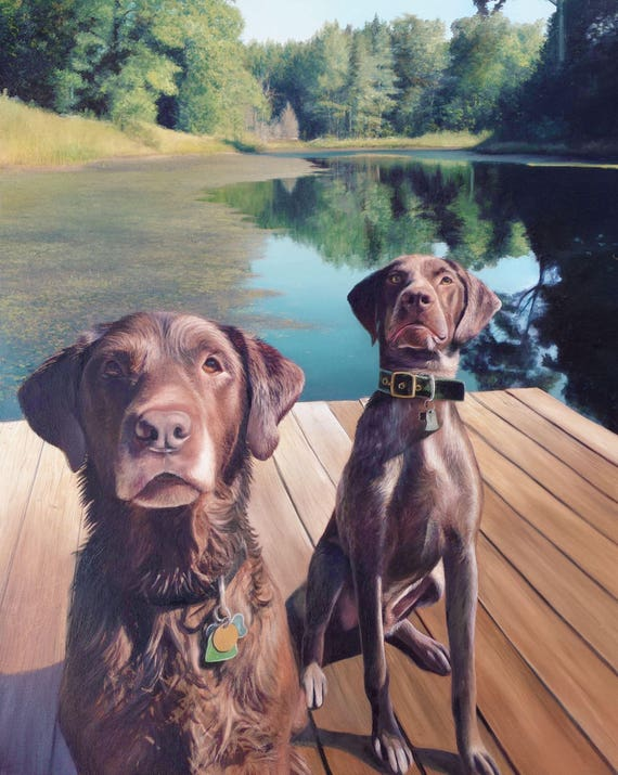 Custom Pet Portrait - Oil Painting - Dog Portrait - Chocolate Lab - German Short Hair Pointer - Perfect Gift Idea