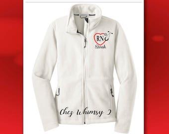 Nurse Jacket, Full Zip Fleece Jacket, RN Jacket, Heart Stethoscope Monogram, RN Gift, Embroidered Nurse Jacket, LPN, ems