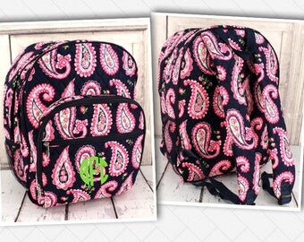 Backpack, Monogrammed Backpack, Quilted Back Pack, Pink Paisley School Bag, Large Back to School Book Bag, Paisley Print Book Bag, Book Sack