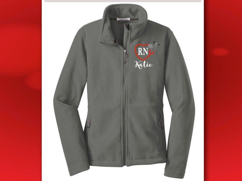 Nurse Jacket Monogrammed Rn Fleece Jacket Full Zip Ladies