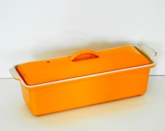 Rectangular Bright Orange Le Crueset Baker- Load Pan- Covered- Enamel Cast Iron