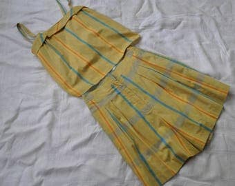 Vintage Two Piece High Waisted Play Suit/Vintage 1980s/Cropped Blouse and Culotte Shorts/Yellow Blue Pin Stripe Cotton Play Suit/Size Small