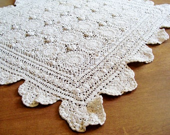 "Square CROCHET TABLE TOPPER Centerpiece Off White 28"" x 28"" Handmade Doily"