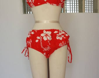 1950s Hawaiian red tie up string bikini