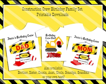 Construction Crew Birthday Family Set Digital Printables for iron-ons, heat transfer, Scrapbooking, Cards, Tags, Invitations, DIY YOU PRINT