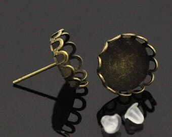 50 Cabochon Earrings - WHOLESALE - Holds 12mm Cabochons - 15x13mm - Bronze Earring Posts - Ships IMMEDIATELY from California - EF107b