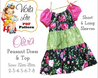 Olivia, Peasant Dress Pattern. Long & Short Sleeve Peasant Top, Toddler Dress pdf Patterns, Girl's Sewing Patterns, Girl's Dress Patterns.