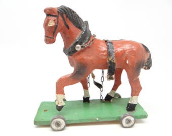 German Horse Pull Toy, Antique Victorian Chirstmas, Hand Painted Paper Mache and Wood