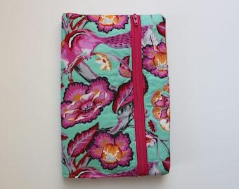 Quilted Fabric Notebook Cover, Zipper Pocket Notebook Cover, Fabric Journal Cover with Built in Pencil Case, Office Organizer, Teacher Gift