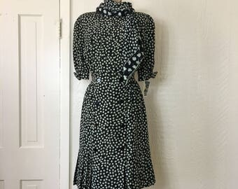 Vintage 80's Albert Nipon Secretary Dress Floral Print Silk with Scarf Nieman Marcus Size 4