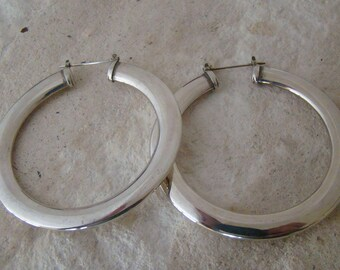 Large Quality Vintage Sterling Hoops for Pierced Ears
