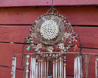 Huge 60s INDIAN SPIRITUAL Hanging DREAM Catcher Snakeskin Shells Claws Leather Beads