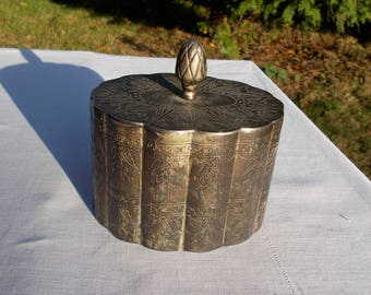 Antique Nickel Silver JEWELRY Knick Knack Box Very High Quality Etching Work that includes great detail.