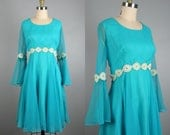 Vintage 1960s Blue Chiffon Dress 60s Turquoise Bell Sleeve Cocktail Dress by COCO Size M/L