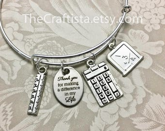 MATH, Math Teacher Bangle, Math Teacher's Gift, Teacher Jewelry, Calculator Charm, Ruler Charm, Math Teacher Gifts, Math Teacher Charm