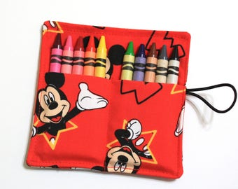 CUSTOM 50 Mickey Mouse Party Favors Crayon Rolls made from Mickey Mouse fabric, crayons holder, Mickey Mouse Birthday, sleeves, wraps
