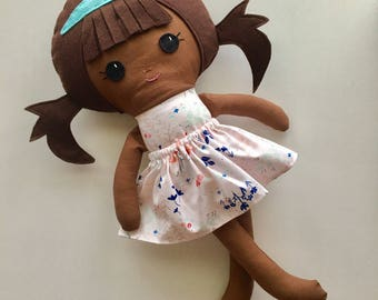 "Ready To Ship Handmade Doll - 18"" Handmade Girl Doll - Girl Doll - Brunette and Brown Skin Doll with Pigtails - Birthday Gift"