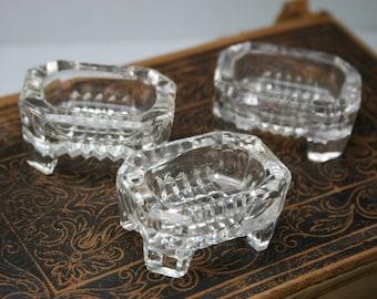 Vintage 3pc Footed Glass Salt Cellars