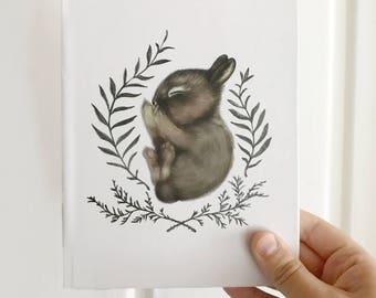 Hard Cover Sleeping Bunny Journal 5.75x7.5 inch Blank Diary