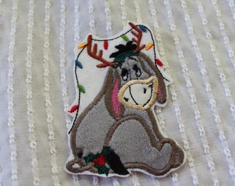 READY TO SHIP Christmas Eeyore  Inspired Iron on Appliqué Patch