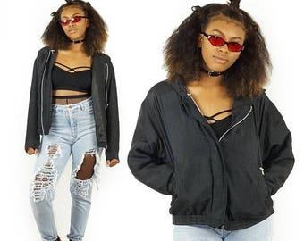 ON SALE Silk Early 90s Black Cropped Bomber Jacket, Vintage Silk Jacket, 90s Grunge, Unisex Size Medium
