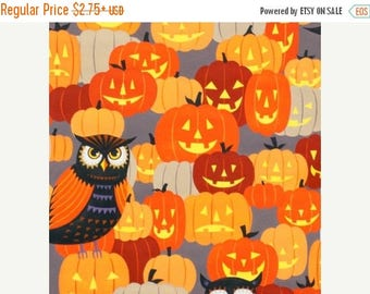 ON SALE Jack O Lanterns, Owl Be Seeing You by Alexander Henry, Owl Fabric, Pumpkins, Halloween Fabric, Orange Fabric, Pumpkin Fabric, 01040A
