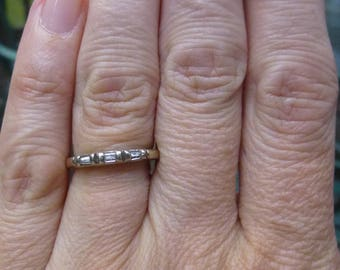 Antique 1930s 3 diamonds Baguette Diamond 14KT white Wedding Ring Band 12 points total weight