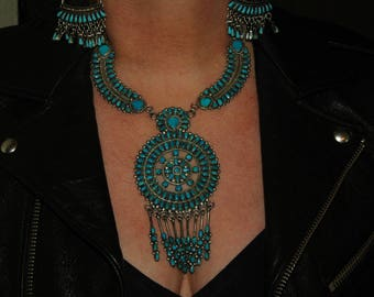 Magnificent Old Stunning Huge Zuni Sleeping Beauty Turquoise Petit Point Squash Blossom Necklace 164 Grams Hallmarked JMB