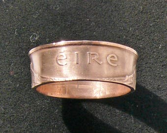 Bronze Coin Ring 1975 Ireland 2 Pingin, Ring Size 9 and Double Sided