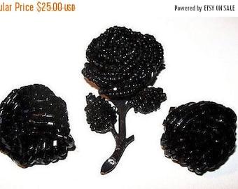 Rose Flower Brooch Earring Set Black Seed Bead Japanned & Gold Metal Vintage