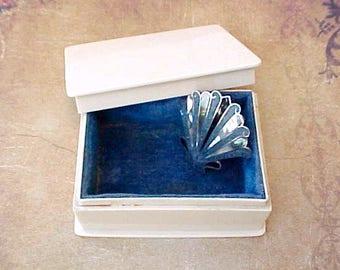 Charming Little Edwardian Era French Ivory Trinket Box or Jewel Box Lined in Blue Velvet