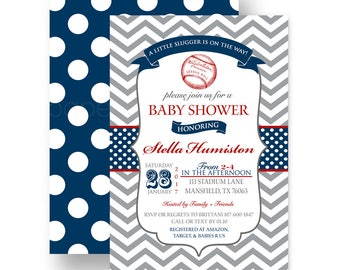 Navy Baseball Baby Shower Invitation for Boys - Grey Chevron - Sports Sprinkle - Personalized - Party Printable - Customized Colors